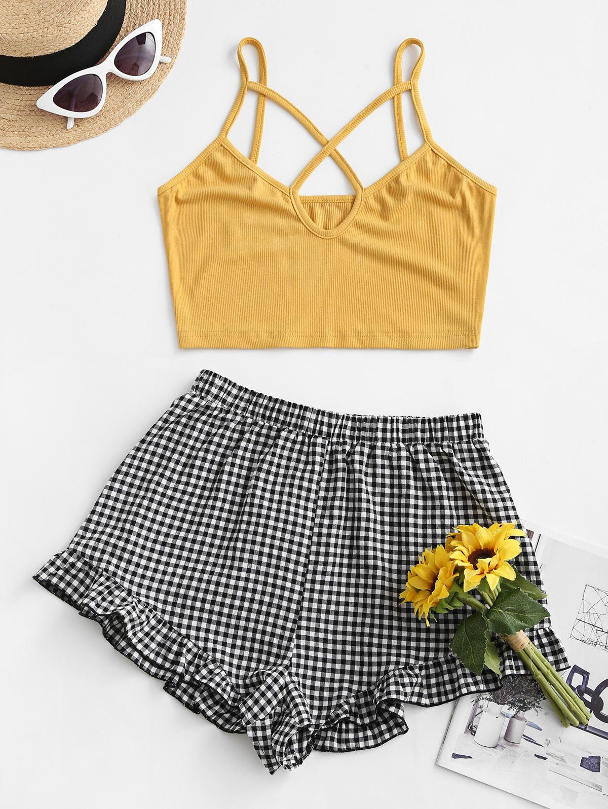 ZAFUL Caged Cutout Ribbed Gingham Two Piece Set
