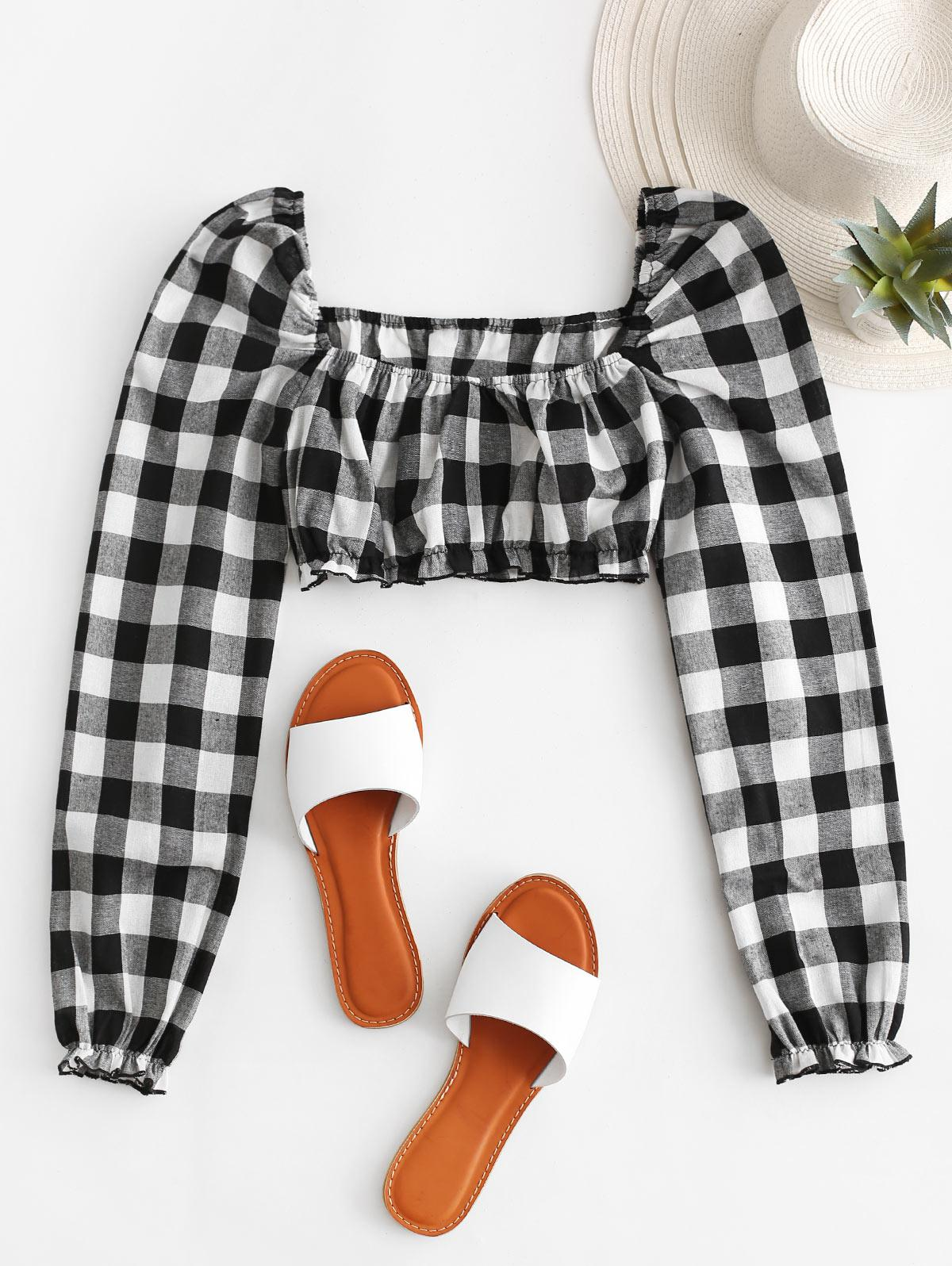 ZAFUL Checked Square Neck Crop Blouse