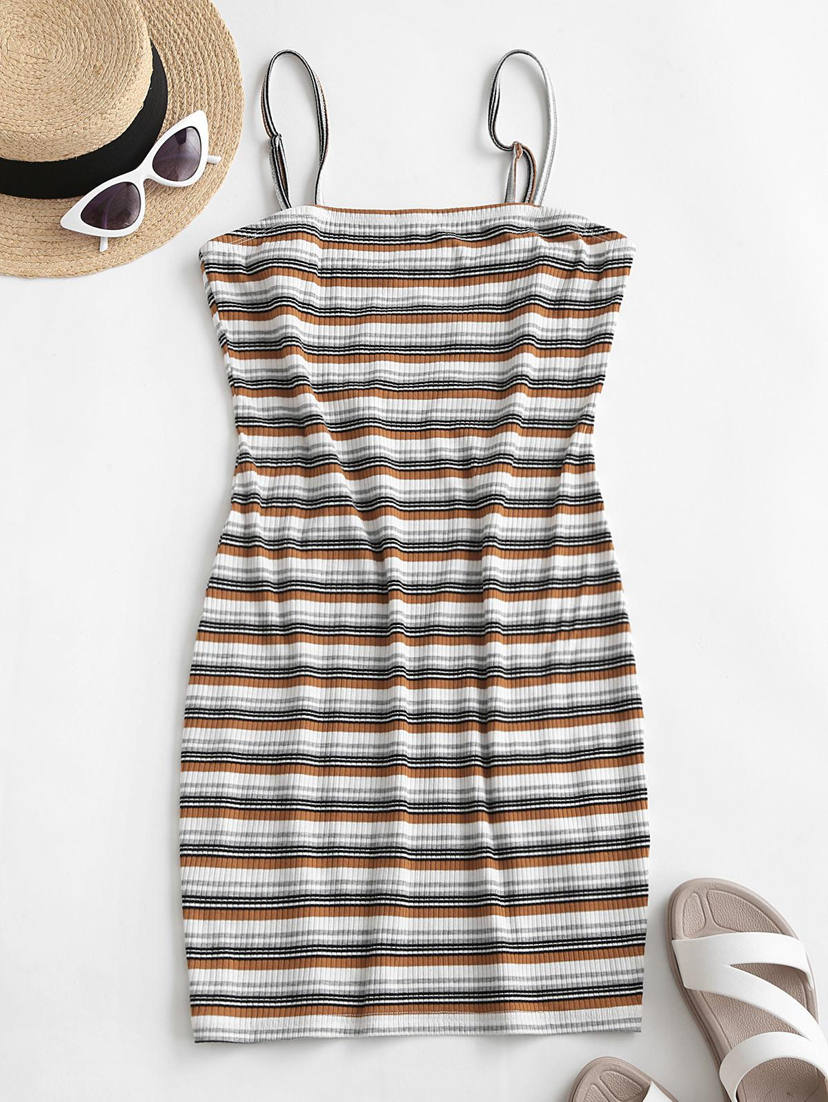 ZAFUL Ribbed Striped Bodycon Cami Dress