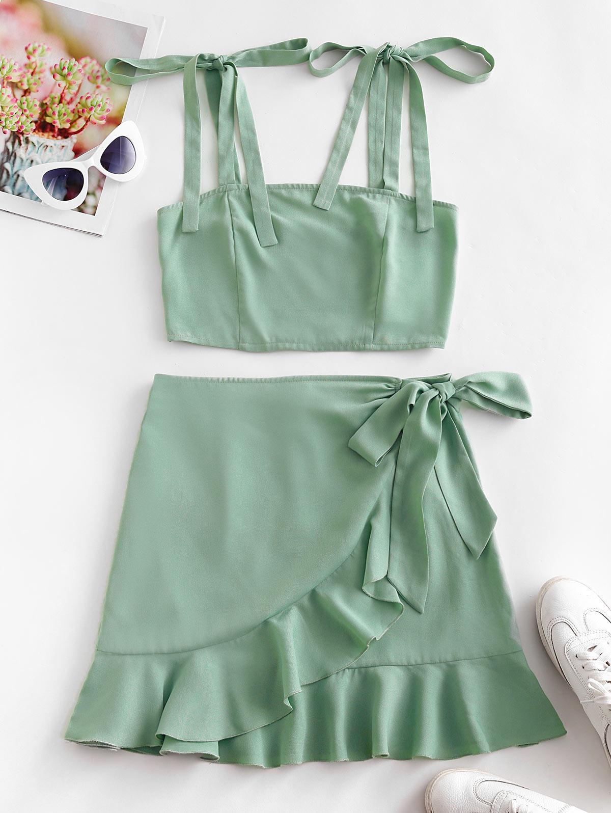ZAFUL Tie Shoulder Shirred Ruffle Overlap Skirt Set