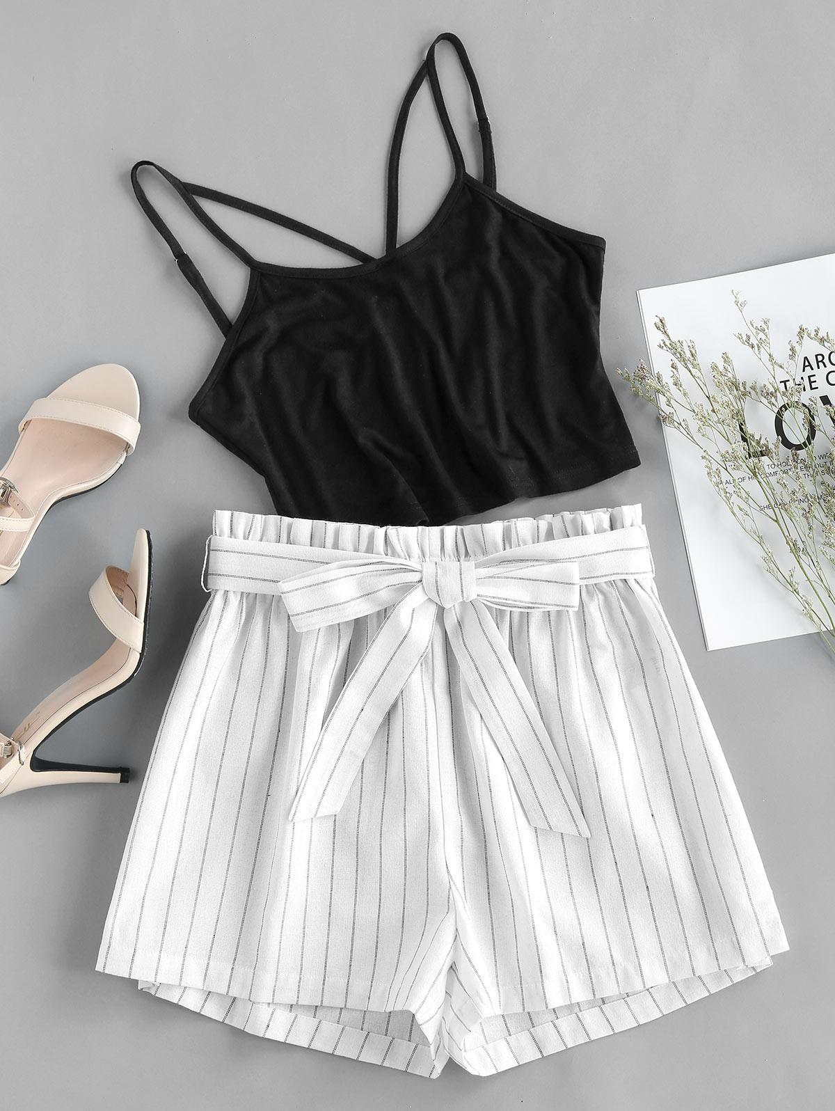ZAFUL Camisole and Stripe Paperbag Shorts Two Piece Set