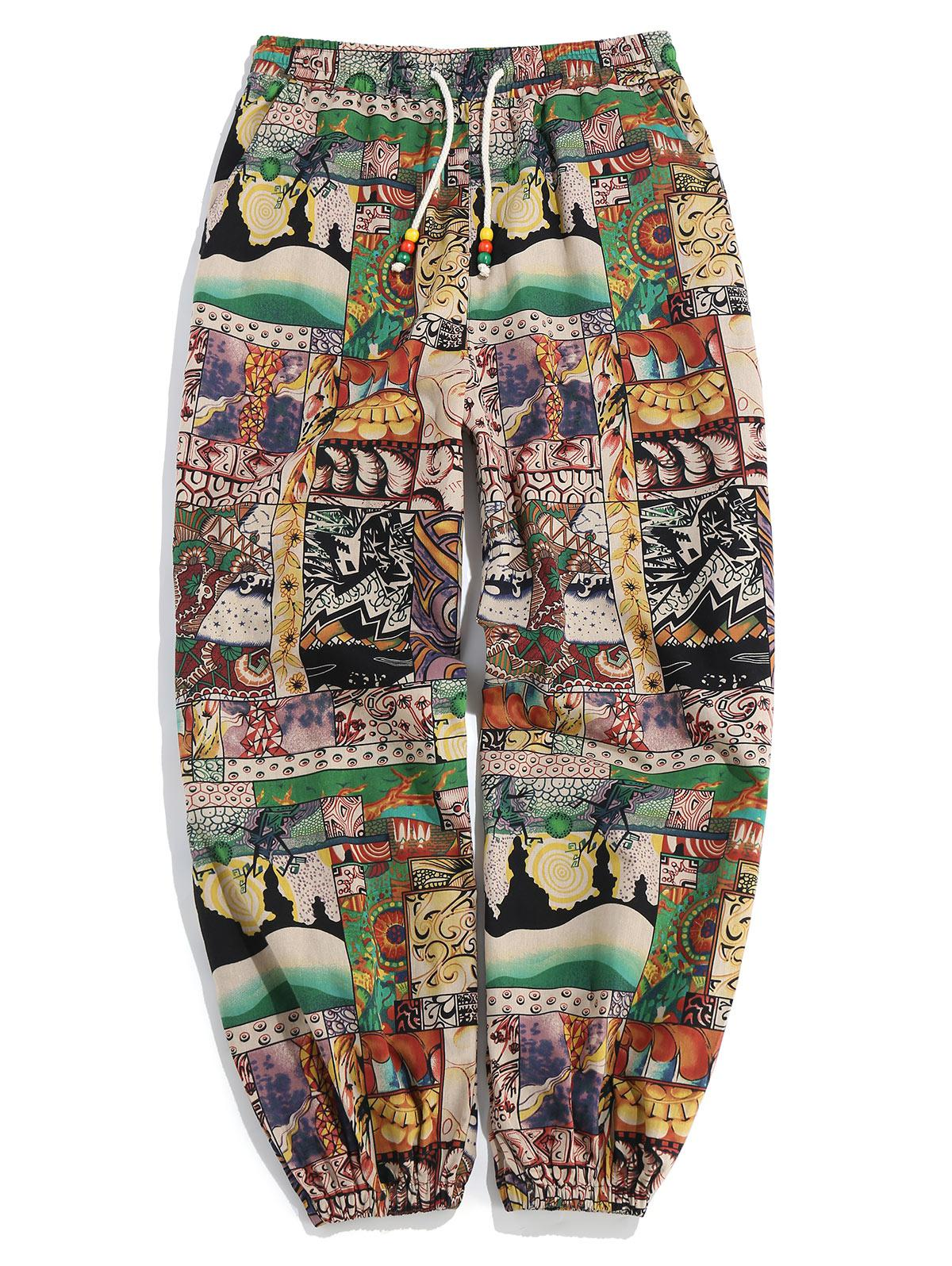Patchworks Painting Printed Casual Pants фото