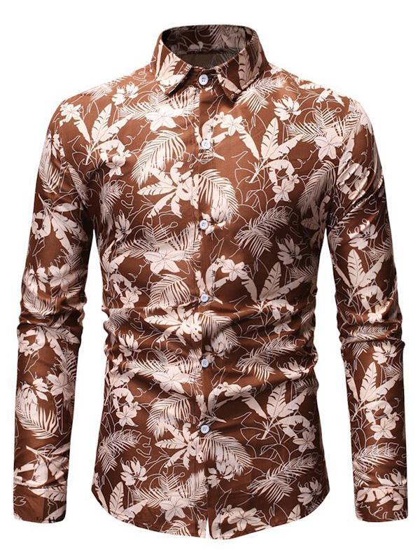 Tropical Leaf Print Button Up Long Sleeve Shirt thumbnail