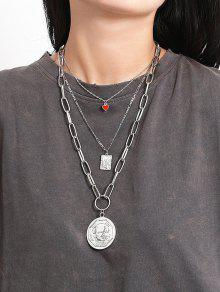 Round Heart Pendant Multilayered Necklace