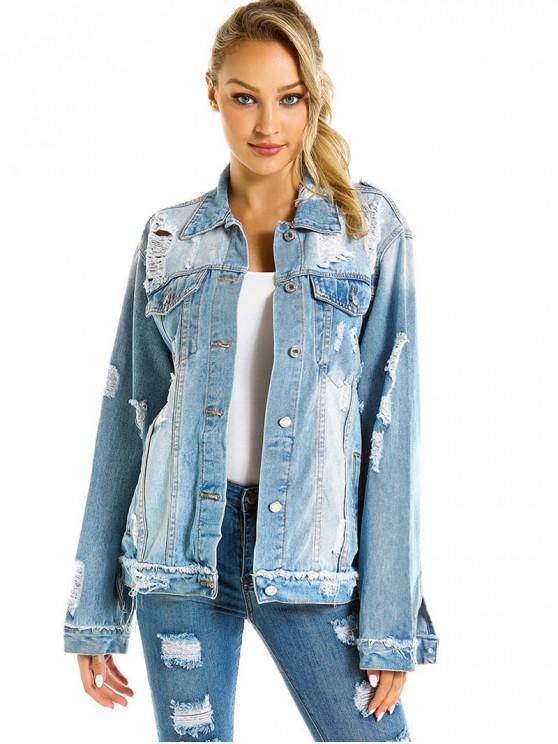 womens Boyfriend Distressed Flap Pocket Jean Jacket - DENIM BLUE L