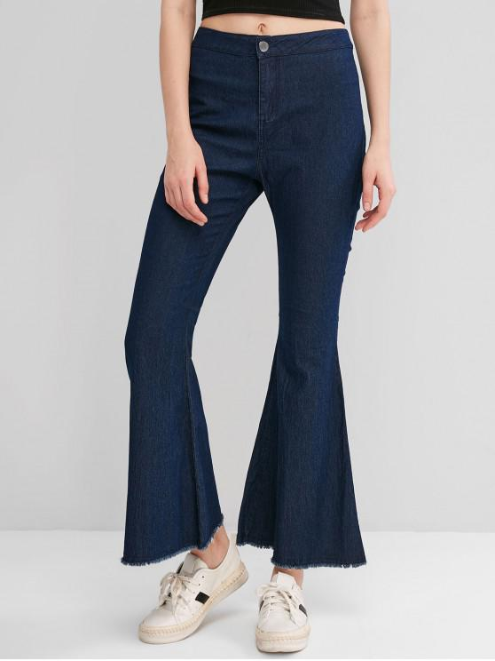 trendy Frayed High Waisted Chambray Flare Pants - DEEP BLUE S