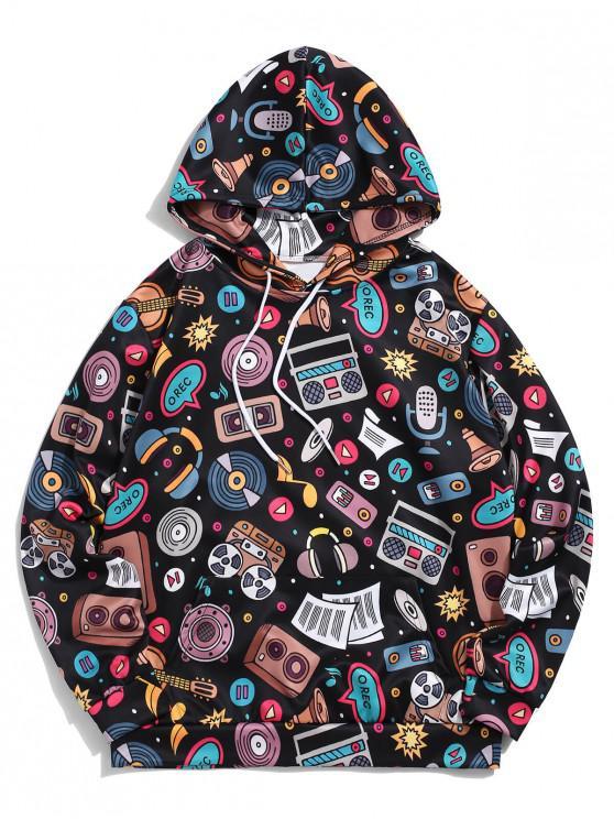 lady Kangaroo Pocket Music Elements Print Pullover Casual Hoodie - BLACK XL