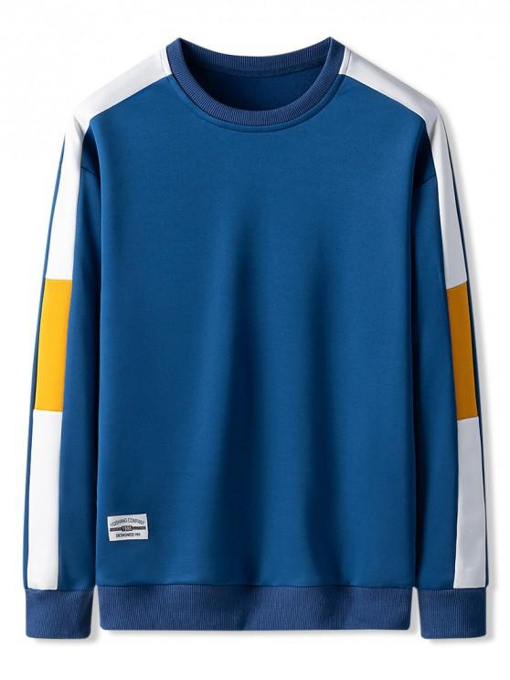 lady Contrast Color Spliced Casual Sweatshirt - BLUEBERRY BLUE XS