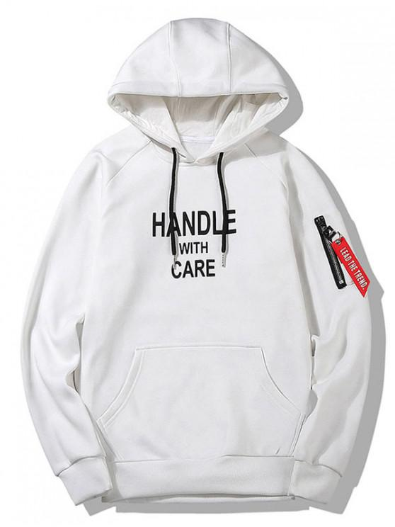 new Letter Graphic Print Pouch Pocket Hoodie - WHITE XS