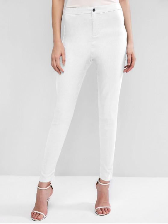 outfits High Waisted Pocket Skinny Pants - WHITE 2XL
