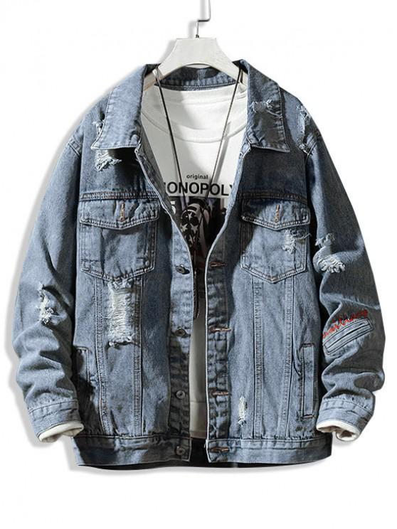 trendy Letter Embroidered Ripped Denim Jacket - DENIM BLUE L