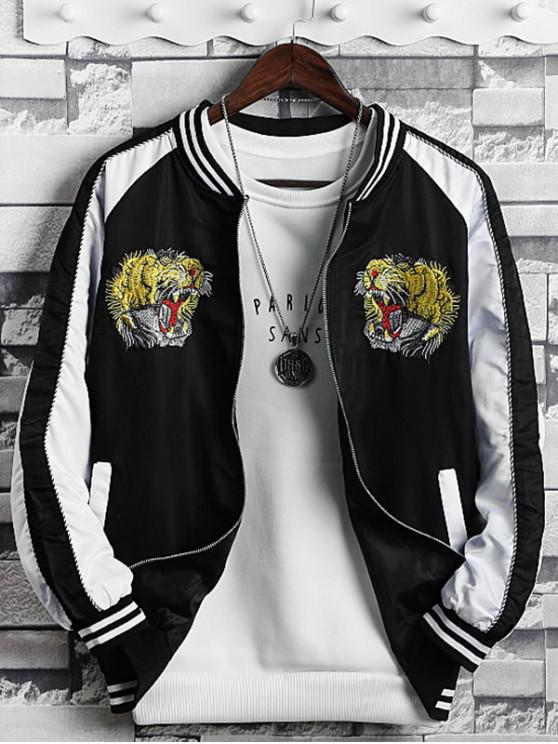outfit Tiger Embroidered Zip Up Casual Jacket - WHITE XS