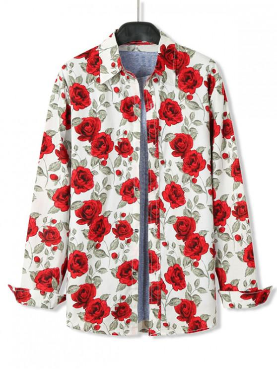 shop Flora Print Long Sleeve Casual Shirt - WHITE 2XL