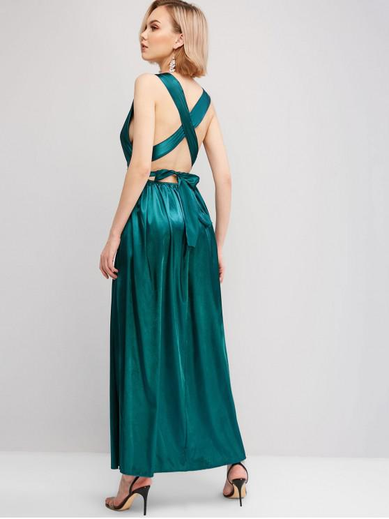 women's Criss Cross Back Satin Maxi Dress - PEACOCK BLUE L