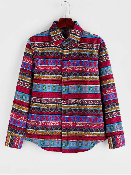 latest Tribal Printed Button Long Sleeves Shirt - MULTI XL