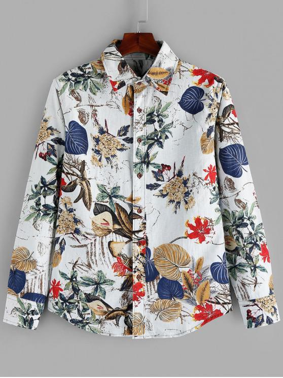 unique Flower Leaf Printed Full Sleeves Shirt - WHITE 2XL
