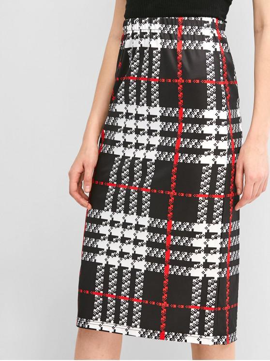 women's ZAFUL Plaid Knee Length Sheath Skirt - MULTI-A XL