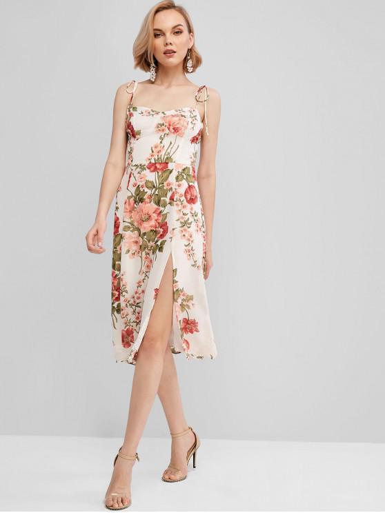 affordable Tie Shoulder Slit Smocked Back Floral Dress - MULTI-A M