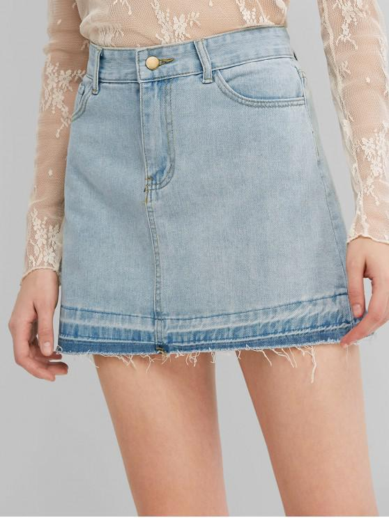 chic Faded Frayed Hem Denim Mini Skirt - BLUE L