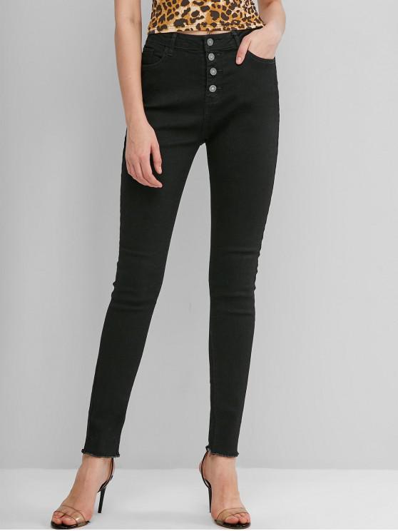 women Frayed Hem Button Fly Skinny Jeans - BLACK S