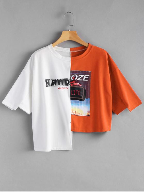outfits Letter Graphic Contrast Asymmetric Tee - ORANGE ONE SIZE