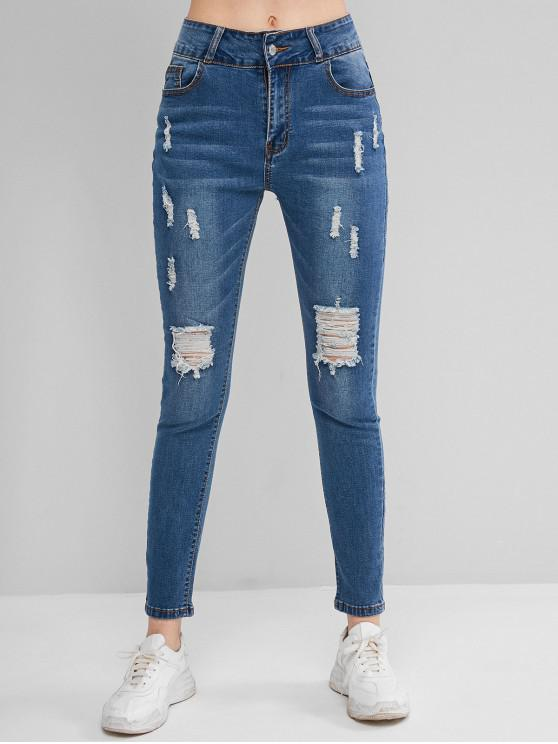 fashion Ripped Five Pockets Cat Whisker Jeans - JEANS BLUE L