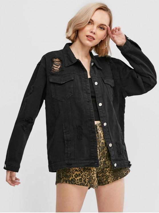 affordable Ripped Flap Pocket Boyfriend Denim Jacket - BLACK L