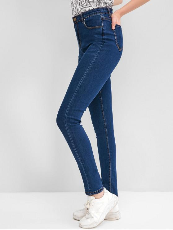 fashion High Waisted Skinny Cat Whisker Jeans - JEANS BLUE M