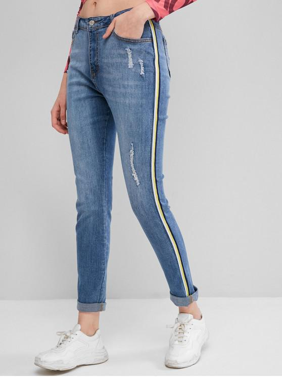 Nastro a strisce strappato Zipper Fly Jeans - Blu Jeans  S