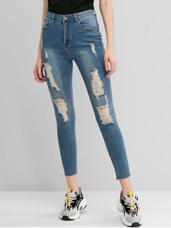 unique Ripped Frayed Hem Skinny Jeans - JEANS BLUE L