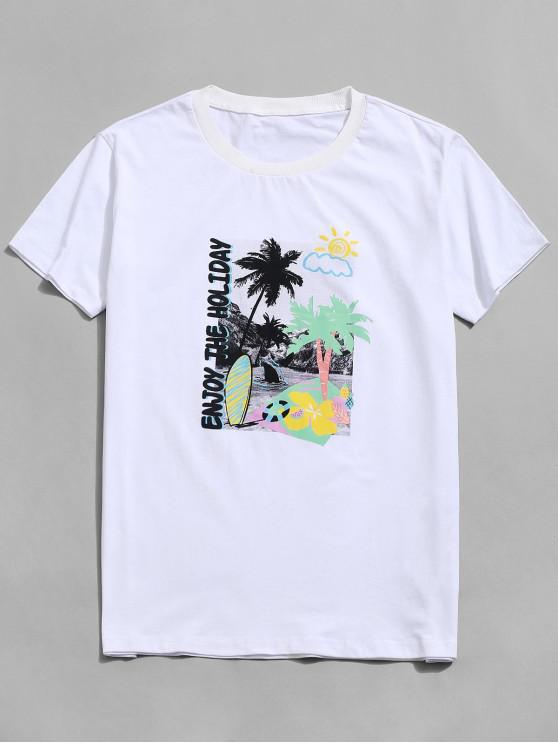 Camiseta de Vacación con Estampado de Fruta de Manga Corta - Blanco 2XL