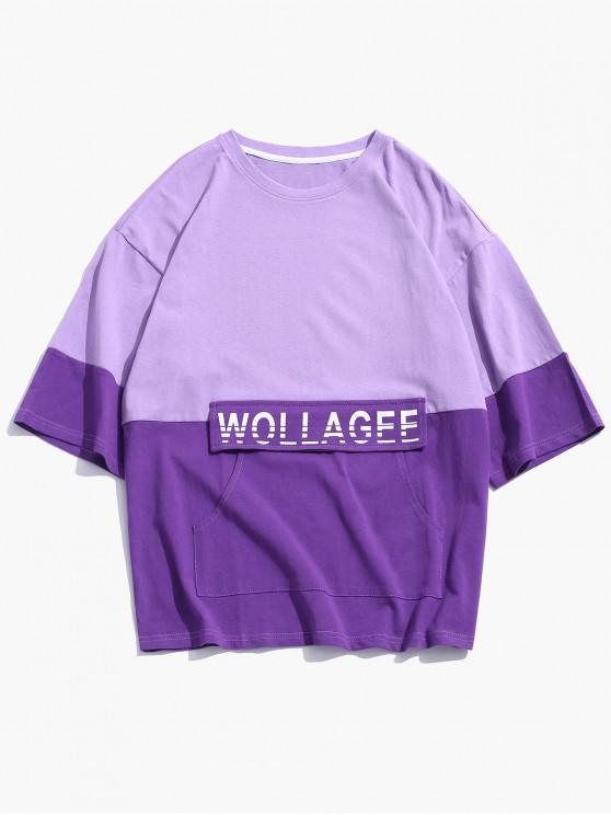 affordable Letter Print Color Spliced Casual T-shirt - PURPLE SAGE BUSH 4XL