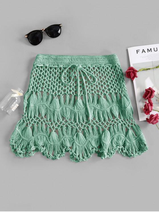 outfit Scalloped Edge Crochet Skirt - ALGAE GREEN L