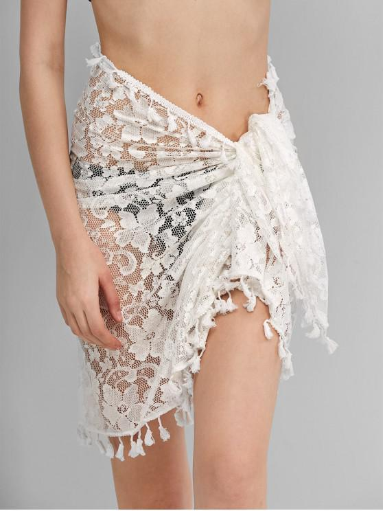 women Tassels Floral Lace Sarong - WHITE ONE SIZE