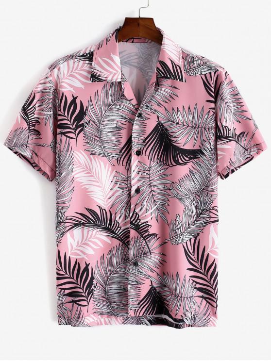 trendy Tropical Leaf Print Short Sleeve Vacation Shirt - PINK XL