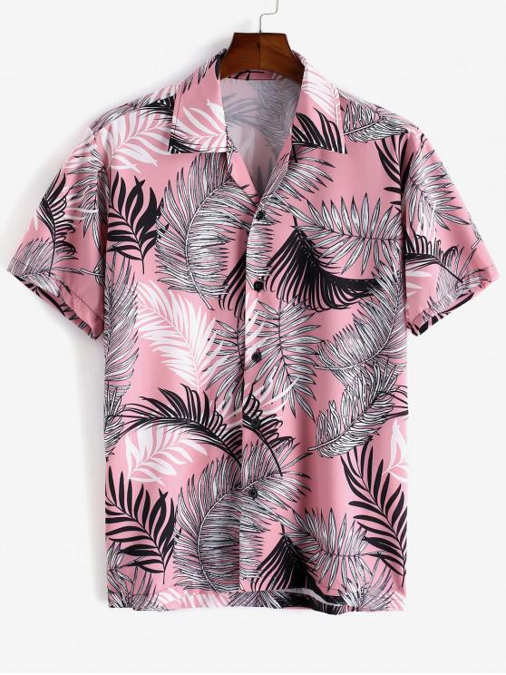 fashion Tropical Leaf Print Short Sleeve Vacation Shirt - PINK 2XL