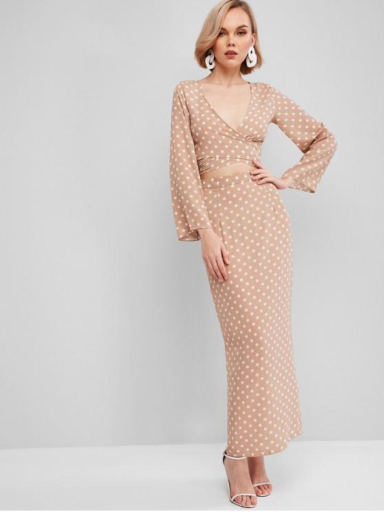 hot Wrap Polka Dot Slit Two Piece Dress - KHAKI S