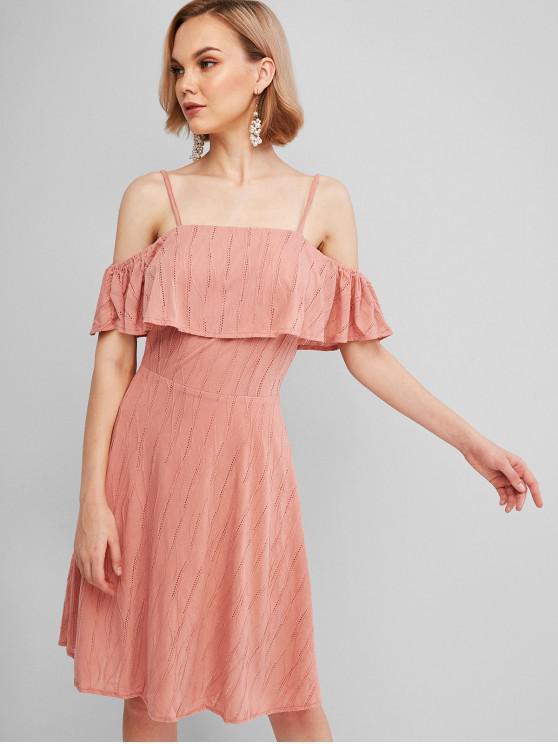 shop Eyelet Overlay Flounces Cold Shoulder Dress - PINK S