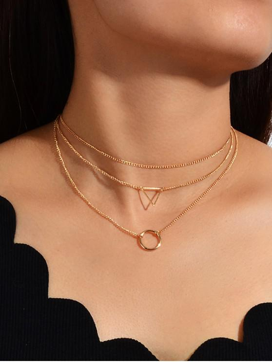 outfit Geo Ring Multilayered Chain Necklace - GOLD
