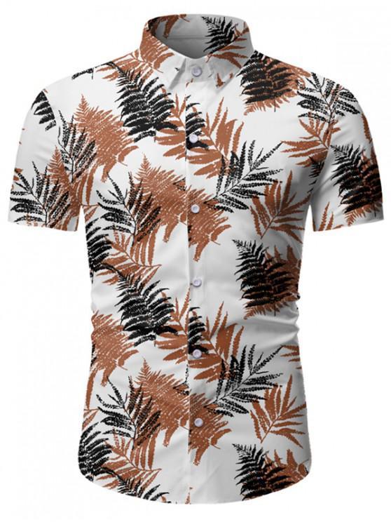fancy Leaf Print Button Up Short Sleeve Hawaii Shirt - WHITE 3XL