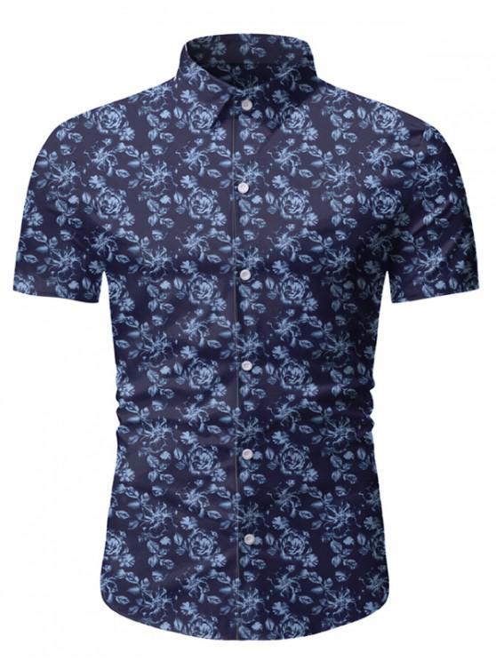 outfit Floral Print Short Sleeve Lounge Shirt - DEEP BLUE 3XL