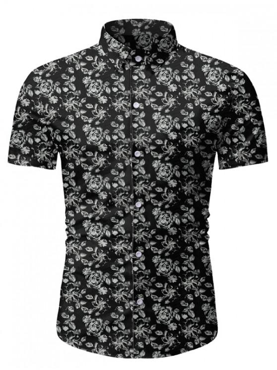 women's Floral Print Short Sleeve Lounge Shirt - BLACK 3XL