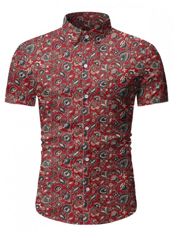 lady Ditsy Floral Short Sleeve Vintage Shirt - RED WINE L
