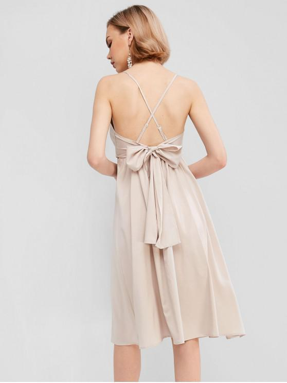 new Knotted Back Solid A Line Cami Dress - LIGHT KHAKI M
