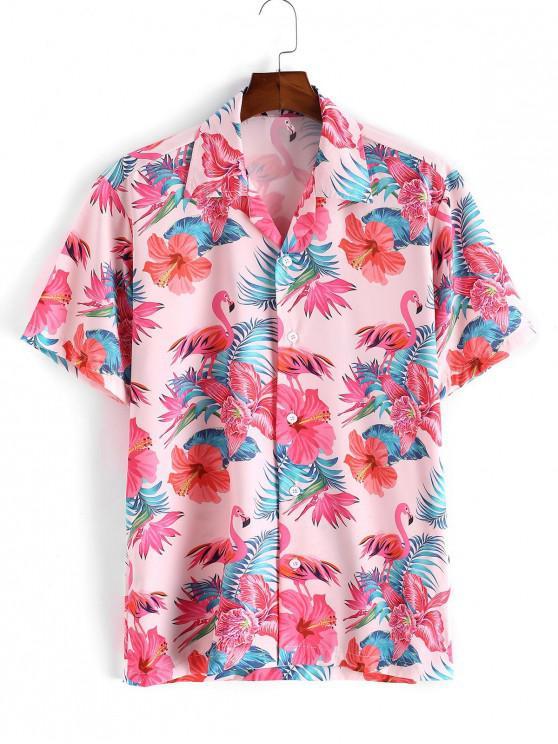 Camisa Manga Corta Estampado Floral Tropical - Rosado S