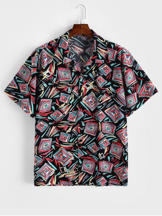 womens ZAFUL Geometric Graffiti Print Button Shirt - MULTI 2XL