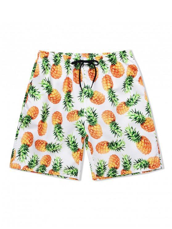 shops Pineapple Print Drawstring Causal Shorts - WHITE M