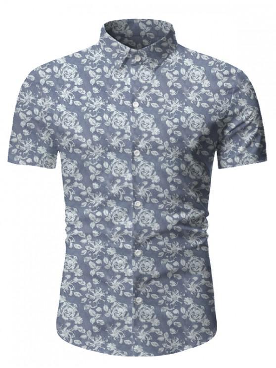 fancy Floral Print Short Sleeve Lounge Shirt - GRAY 3XL