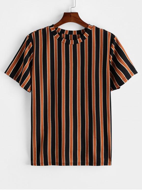 new ZAFUL Colorblock Striped Print Short Sleeve T-shirt - TIGER ORANGE M