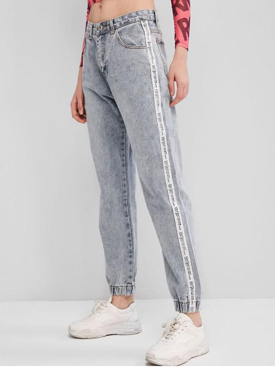 best Letter Tape Zipper Fly Jogger Jeans - JEANS BLUE L